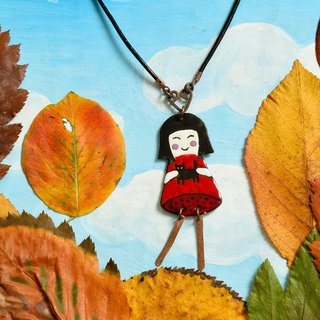 Girl and cat necklace, Cat fan necklace, Cat necklace, Enamel necklace,