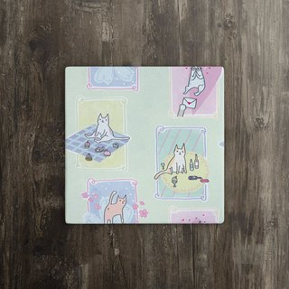 [Picnic Cat] Exclusive Time Ceramic Coaster