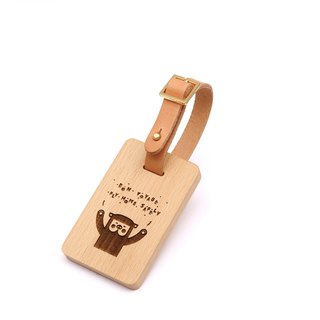 Wooden Baggage tag - Piggy - European beech style