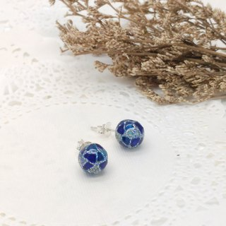 10mm Glass-painted Sterling Silver earrings - Glitter-Silver line, Blue