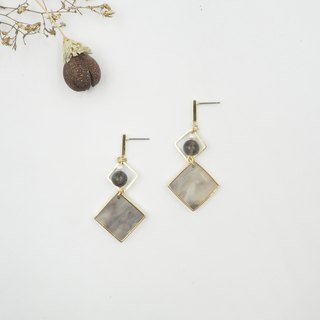 Design section. Labradorite pearl marbled steel earrings