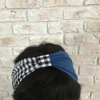 Linen - Cotton Hair turban : Black and white check + Blue