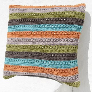 Christmas gift Valentine's Day gift birthday gift limited manual handmade crochet pillow case / pillow / striped pillowcase / East European wind pillow case / crocheted pillowcase - tropical colorful stripes