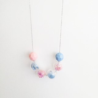 Pink Blue Preserved Flower Necklace Birthday Bridalshower Christmas gifts