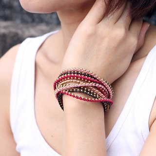Wrap Around Bracelets Hippy Pink Love Braided Woven Multi Strand