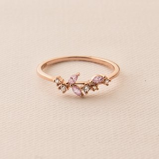 Light pink crystal sterling silver ring - sterling silver / rose gold / 18K gold