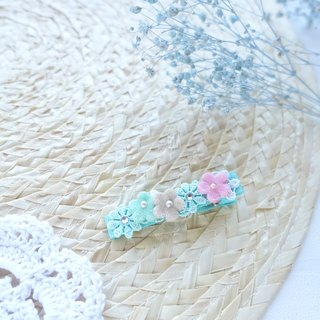 Hair Accessories - Pastel color flowers hairclips (Mint)