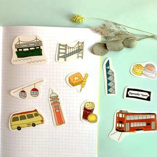 Follow you- Hand painted transparent waterproof Hong Kong travel sticker set
