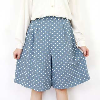 Back to Green:: Comfortable Pants Baby Blue Dots //vintage culottes//