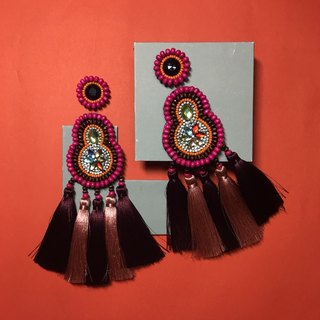 earrings : boho chic x 5th red l pink