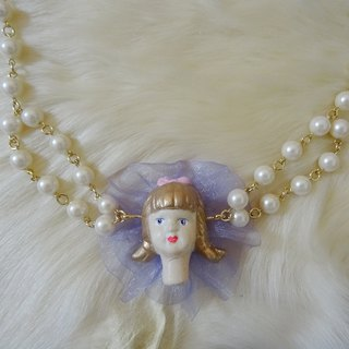Girl Doll Necklace / Purple