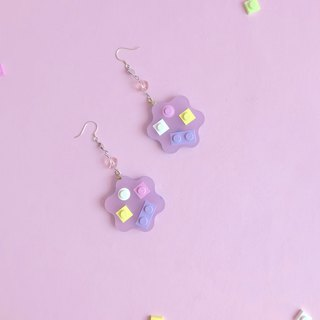Flowers girly purple geometric blocks earrings