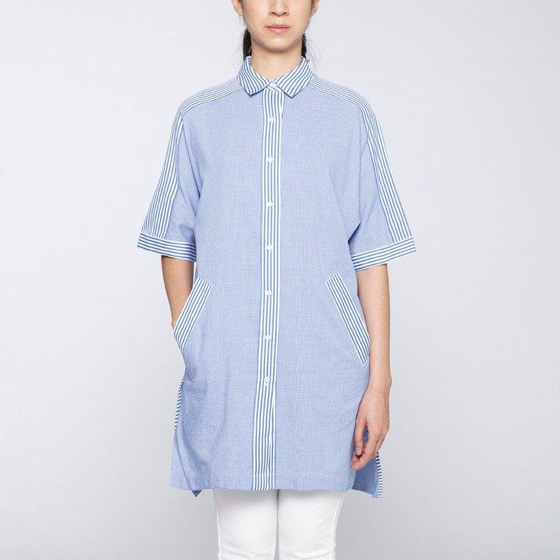 【Off-season sale】發光是追夢的自己 千鳥格拼條紋長版襯衫 -藍