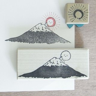 "Handmade rubber stamp ""Mt. Fuji and sun"""
