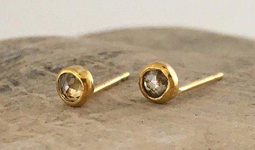 K24玫瑰切工天然鑽石純金耳釘K24足金+鑽石耳釘