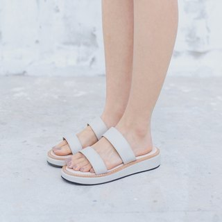 Double shot 2in1 sandals shoes- Cream grey