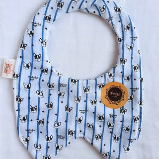 Straight Grain Bucket - Grey Blue Stripe / Baby Baby Eight-layer Yarn Bib. Saliva towel. 100% cotton