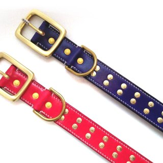 [Handsome collar hand leather] wide four centimeters double thick thick leather collar XL