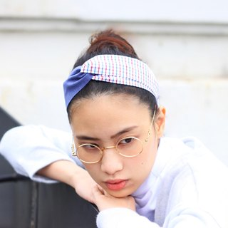 【The MAMA's Closet】Checked Series (Blue) / Headband
