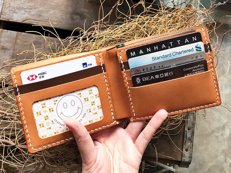 拼色5咭位相片零錢包短夾 好好縫 皮革材料包 皮夾 植鞣 DIY 銀包