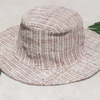 Chinese Valentine's Day gift limited a piece of land forest stitching hand-woven cotton hat / fisherman hat / sun visor / patch hat / handmade hat / handmade crochet hat / hand-woven / gentleman hat-colorful rainbow striped cotton hat