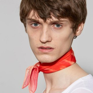 """Bubble Gum Seine"" An orange-red silk scarf in a Parisian style"