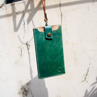 DUAL - Hand stitched leather arc card case / bag - Vegetable tanned hand dyed green (i7 i7 +)