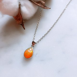 *ONLY ONE*Cloud:: Orange Halo Opal Colorful Sterling Silver Necklace