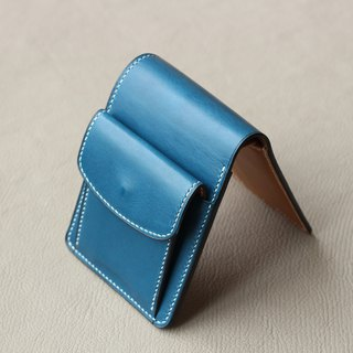 Two-color vegetable tanned leather six-card coin pocket short clip