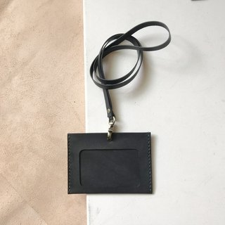 Identification card holder + neck belt _ horizontal _ double card layer _ black