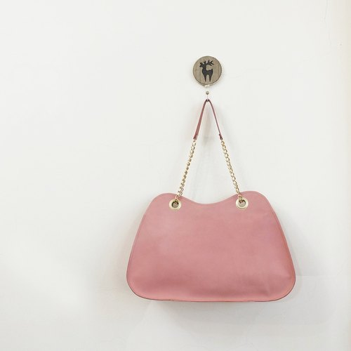 Pink ladies Yamagata side of the back of the chain of leather can be installed A4 powder purple / deep lotus root starch