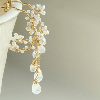 Rainbow moonstone chandelier hoop earrings 14k gold filled wedding jewelry