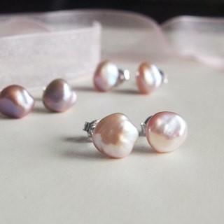 Free Shipping : Freshwater Keshi Pearl 925 sterling silver stud earrings | 925 Silver Earrings | Able to change into clip on