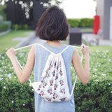 Kiddodog - Shoulder bag - 抽繩 包 14 * 16 inches - Canvas bag - Drawstring BackPack - white - blue.