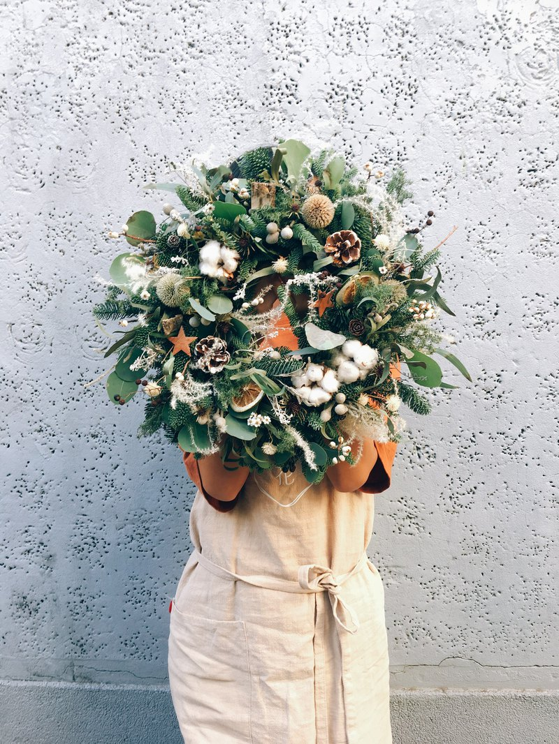 [Good Flower] Dry Christmas Wreath Dry Wreath Nobelson Wreath Christmas Gift Opening (L)
