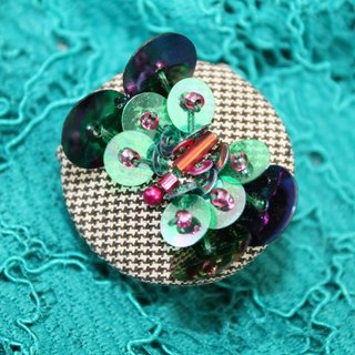 handmade green butterfly brooch,  round flower pin