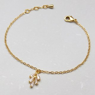 Copper plated 18K gold zircon small fir chain bracelet