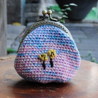 Hand hook cotton linen embroidery gold purse - dream pink blue yellow