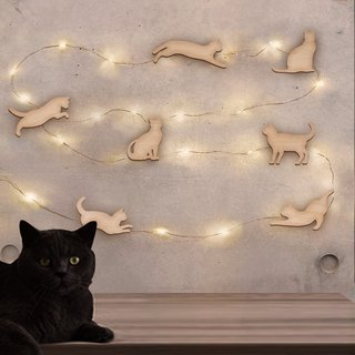 Jumping cat star hanging wall lamp wall decoration + universal wooden card (light length 5/10 meters USB power supply)