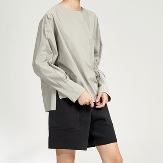Apple GAOGUO original design early autumn round neck gray green long sleeve pleated sleeves loose silhouette pocket shirt shirt