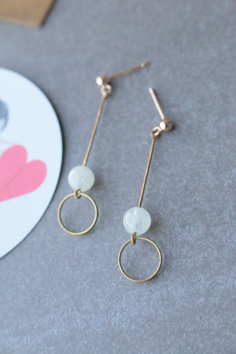 Glass Brass Earrings 1165 - Meatballs