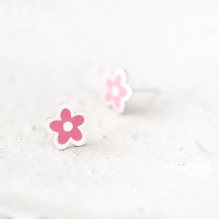Pink handwriting style Flower Earrings Silver925