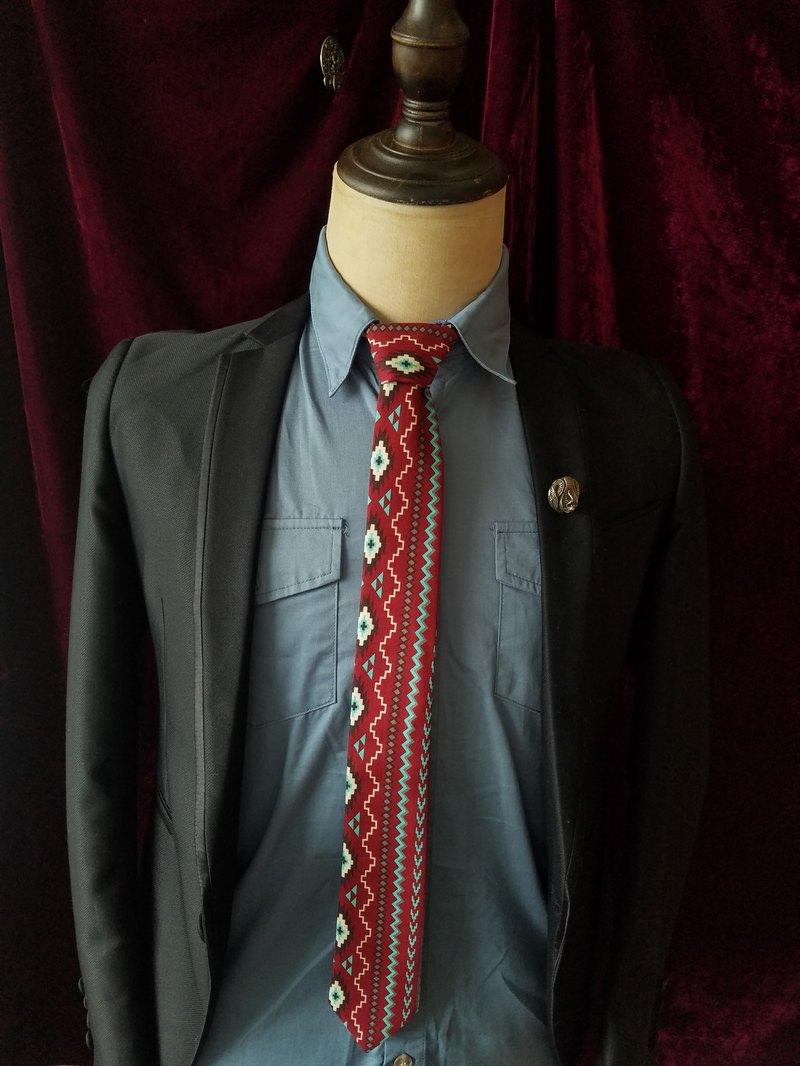 紅色民族風領帶復古花紋領帶