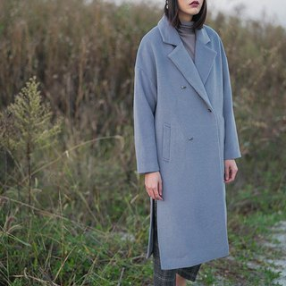 Gray-blue double-breasted wool coat, minimalist, double-open, loose silhouette, long coat, autumn and winter coat