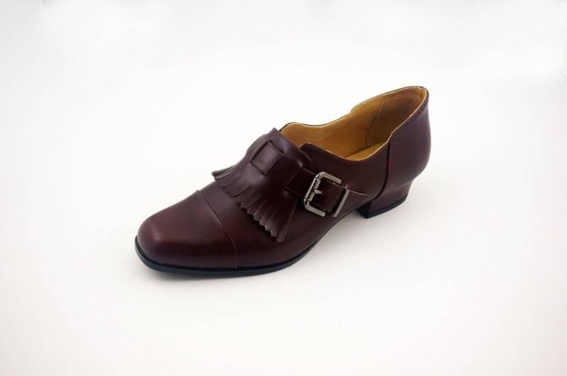 Handmade shoes low heels wine red leather shoes leather handmade shoes Dirk shoes square shoes