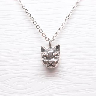 Two hair silver [illustrator cat Babi head necklace]