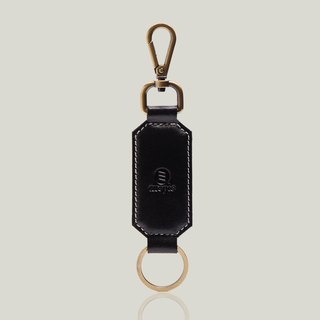 Champagne champagne - leather key ring - black ‧ wax leather