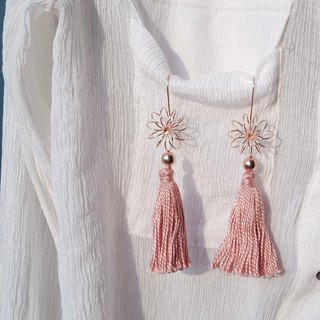 Pinkgold 14k plated silver earring pink tone tassels limited 2 pairs only!