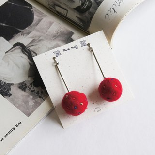 mint neiff I wool felt beans hair ball clock earrings I red I wear / clip