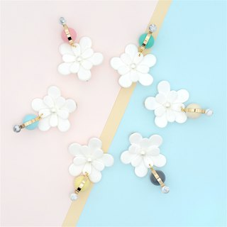 Little nb flower resin exaggerated earrings multicolor